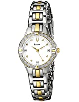 Bulova Diamond Analog White Dial Women's Watch - 98R166