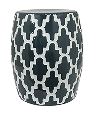 Three Hands Ceramic Garden Stool, Blue/White