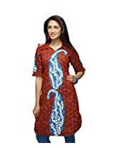 Karishma Suit - FREE Maybelline Colossal Kajal MRP 199 - s Brown-Blue Printed Pure Cotton jacquard ï¿1/2 Unstitched Kurti Fabric For Women | KLVPG23