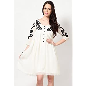3/4Th Sleeve Embroidered Cream Dress