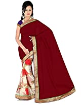 Maroon-White printed saree with red roses