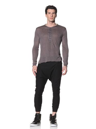 Hip and Bone Men's Linen Long Sleeve Shirt (Grey)