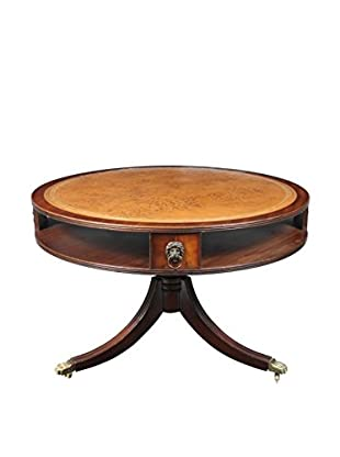 English Drum Table, Brown/Gold