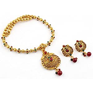 Prakruthi's Traditional Temple Jewellery Pendant Set With Drop Earring For Women_MW1437