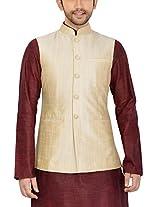 Manyavar Men's Banded Collar Blended Jacket