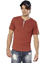 Do U Speak Green ? Mens Cotton Button Front T-shirt Rust (x-large)