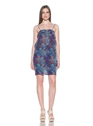 Doo.Ri Women's Ruffle Drawstring Dress (Blue Combo)