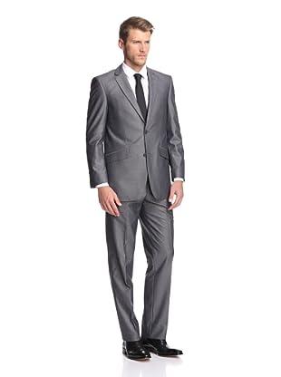 Renoir Men's Slim Fit Tickweave Suit (Light Charcoal)