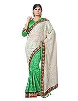 Dlines green & White cotton Jute Saree