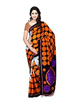 Ambaji Black & Orange Coloured Dani Georgette Printed Saree