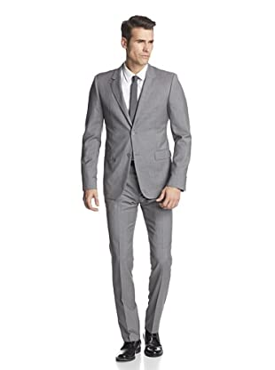 Calvin Klein Collection Men's Bowery Two Button Suit (Light Heather Grey)