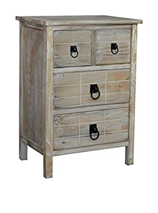 Gallerie Décor Driftwood 4-Drawer Cabinet, Weathered White