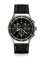Swatch Black Leather Analog Men Watch YOS447