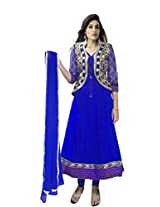 Shree Sai Trading Women's Georgette Unstitched Anarkali Salwar Suit (Blue_Free Size)