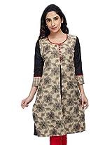 Lifestyle Retail Women A-Line Kurta (KS-301-7365_Black_Small)