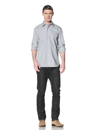 Orian Men's Medium Spread Collar Washed Regular Fit Sport Shirt (Turquoise/White)