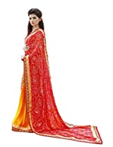 Bahubali Womens Half pure moss bandhni and half silky butti print with heavy lace(85607_Red and Orange Colour Saree)