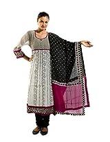 Kaalika Women's Cotton Salwar Suit (K-787-Freesize-off-White/Purple _Purple _Free Size)