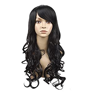 MapofBeauty Long Wave Curly Hair Wig Full Wig for Women Long