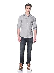 Just Cavalli Men's Spread Collar Shirt (Grey Square Pattern)