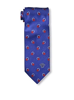 Versace Men's Dotted Tie, Blue/Red