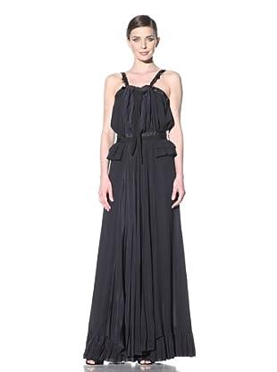 NINA RICCI Women's Halter Style Gown with Waist Ruffle