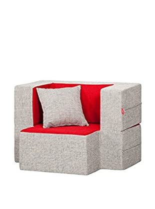 Best seller living Sillón Puff Mini Tiramisu Gris/Rojo