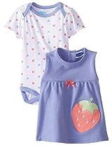 Bon Bebe Baby Girls Newborn Strawberry And Hearts Bodysuit With Jumper Set By Bon Bebe