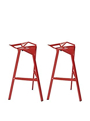 Modway Launch Stacking Set of 2 Bar Stools, Red