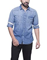 Zovi Cotton Slim Fit Casual Blue Solid Denim Shirt With Pockets (11229204801_44)