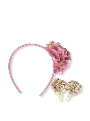 Liliella Pink Floral Headband and Cream Hairclip Set