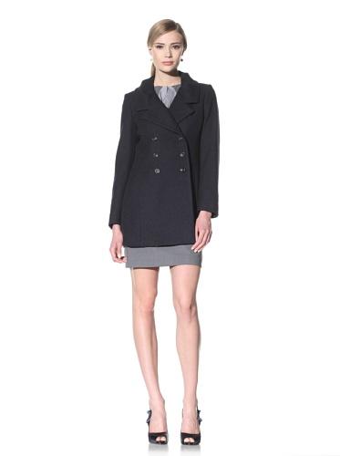 Luciano Barbera Women's Double-Breasted Wool Coat (Blue Black)