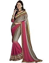 Indian Women Divine Satin Chiffon Grey Saree with Blouse