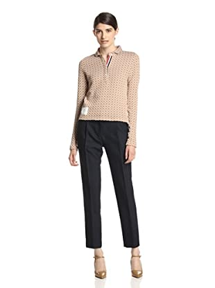Thom Browne Women's Round Collar Polo Shirt (Camel)