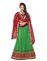 Suchi Women Net Lehenga Saree Lehenga Cholis (Sfjam90281 _Green And Maroon _Free Size)