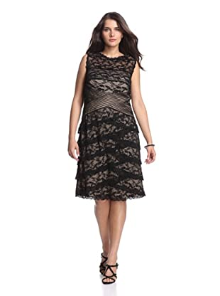 Marina Plus Women's Sleeveless Stretch Lace Dress (Black/Nude)