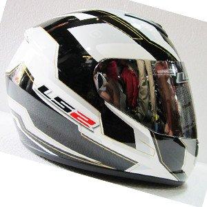 LS2 Helmet Spit White Black