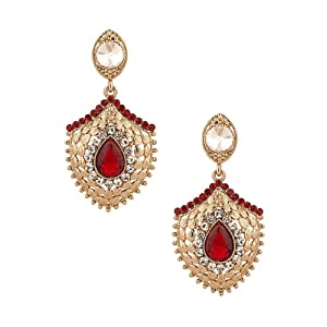 Voylla Gold Plated Dangler Earrings Decorated with Golden Petals, Maroon Crystal