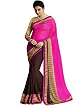 Lovely Chiffon And Georgette Pink Half & Half Saree with Blouse