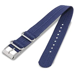Timex T7B903 Weekender 20mm Dark Blue Nylon Slip-Thru Watch Strap