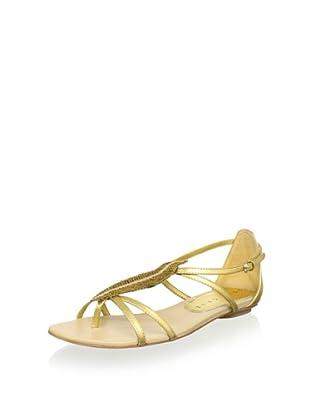 Lola Cruz Women's Feather Flat Sandal (Oro)