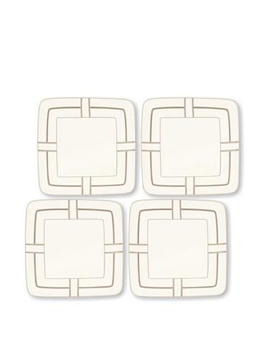 Noritake Everyday Elegance Set of 4 Trieste Small Square Plates (White/Taupe)