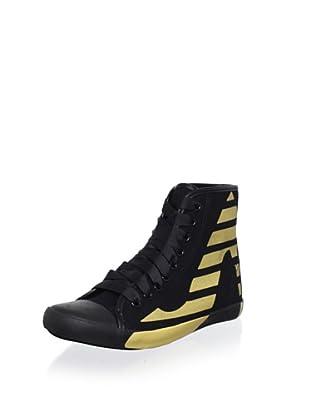 Be&D Women's Striped Sneaker (Black/Gold)