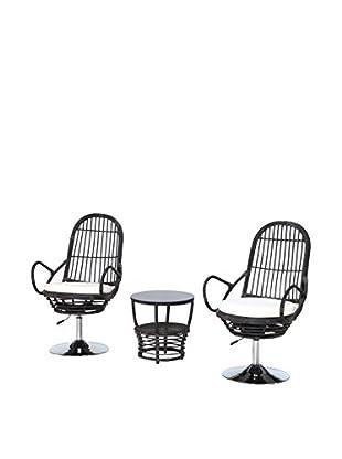 Ceets Pala 3-Piece Outdoor Conversation Set, Black/White