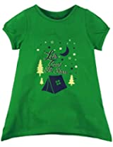 Oye Girls Round Neck Tee With Chest Print - Fern Green (4-5 Y)