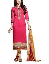 Clickedia Beautiful Cotton Embroidered Pink & beige churidaar Salwaar Suit