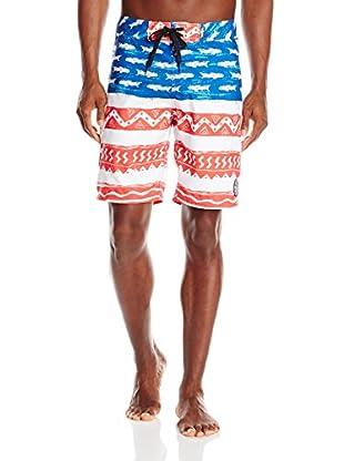 Maui & Sons Men's Sharks & Stripes Boardshort