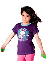 Unamia Girls Printed Purple Halfsleeve Top - Fba_301255