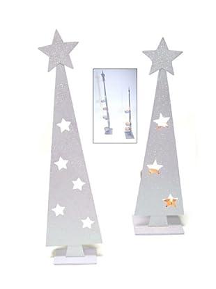 Portavelas Arbol Navidad Blanco