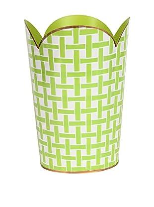 Jayes Basketweave Tulip Wastebasket, Green